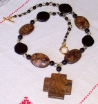 bronzite, black onyx,dalmatian jasper,necklace